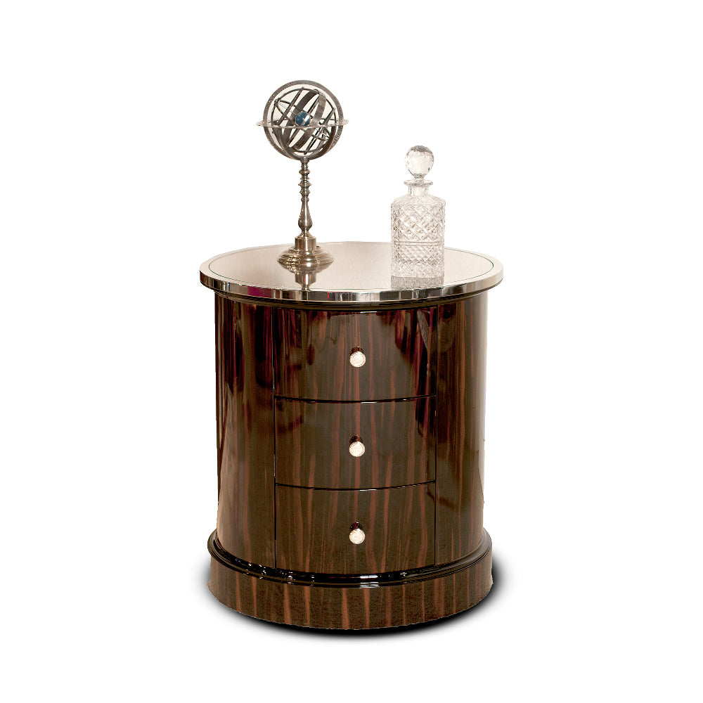 Occasional Accent Table Polished Macassar Ebony Oval with Drawers, Martin Perri Interiros