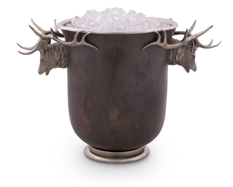 Elk Head Handle Bronze Ice Bucket