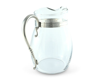 Classic Curved Glass Pitcher Pewter Handle