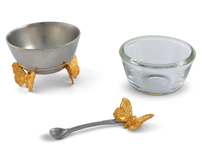Gold Butterfly Salt Cellar With Spoon