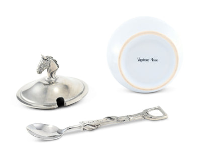 Equestrian Sugar Bowl And Spoon
