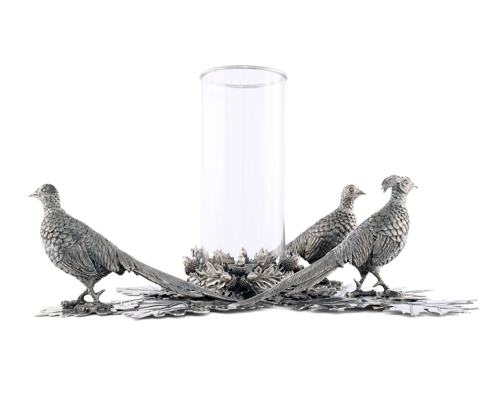 Pewter Pheasants Pillar Hurricane Centerpiece