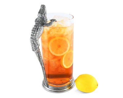 Glass Pitcher Pewter Alligator Handle