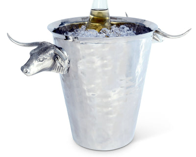 Steel Ice Bucket With Long Horn Steer Handles