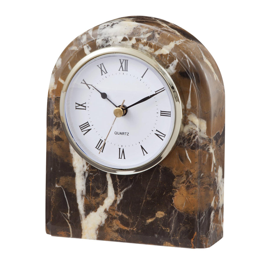 Desk Clock Black and Gold Marble