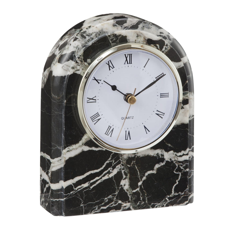 Table Top Desk Clock Black and White Marble