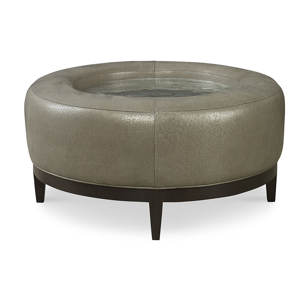 Louie Leather Pebble Glass Ottoman