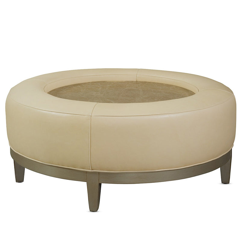 Louie Leather Ottoman With Wooden Insert