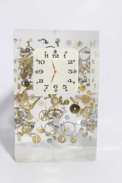 Exploded Clock Parts Acrylic Sculpture in Manner of Pierre Giraudon