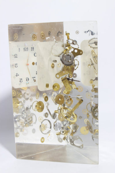 Exploded Clock Parts Acrylic Sculpture in Manner of Pierre Giraudon,Acrylic Sculpture in Manner of Pierre Giraudon