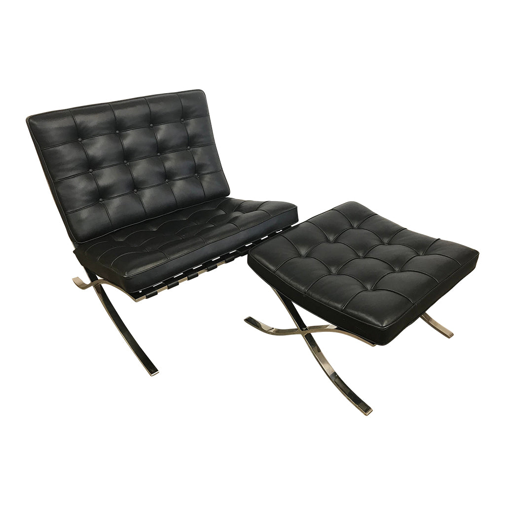 Ludwig Mies Van Der Rohe Vintage Barcelona Chair and Ottoman original