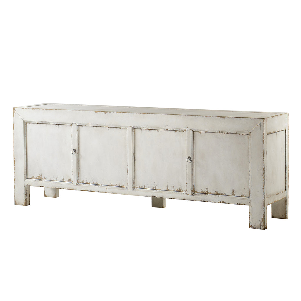 Century Furniture MN5795, four Door Credenza white distressed Finish Coastal