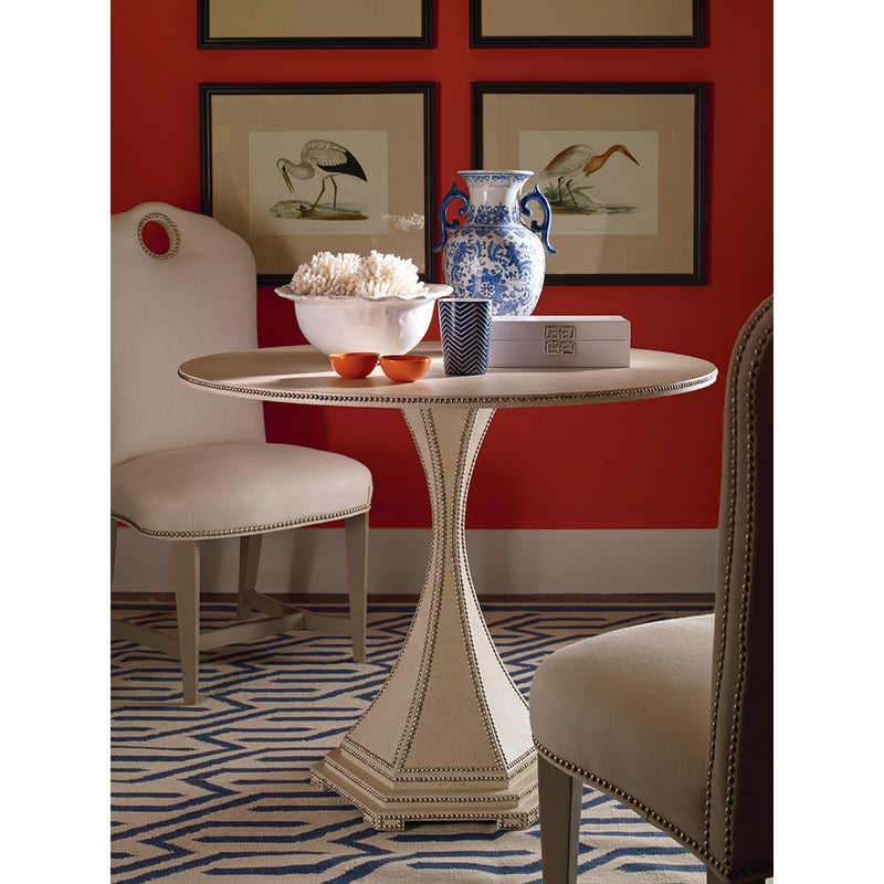 Century Furniutre SF5231, Lamp Table  woven raffia paper in white finish and silver plated brass nailhead trim.