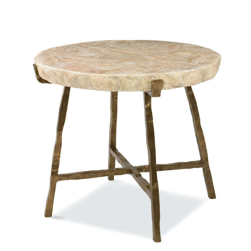 Century SF5329, Accent Table Crystal top with Bronze Metal Base.
