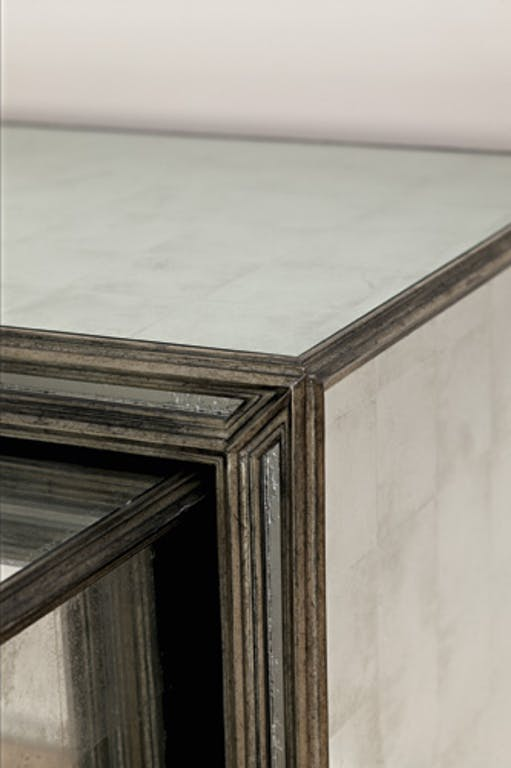 Julian Chester  Mirror, Eglomise Beveled Shape in Antique Silver Finish