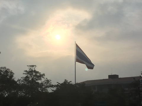 Sunset and Thailand Flag - Enroute from Bangkok - Irish Bootstrapper
