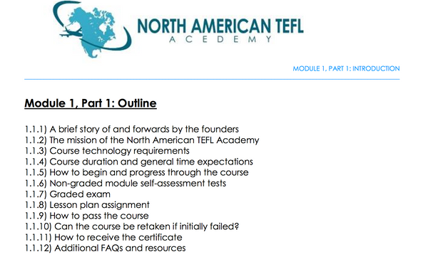 North American TEFL Course Content - Irish Bootstrapper Partner