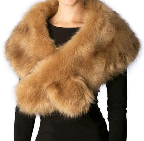 FAUX FUR SHAWL SCARF WITH SLIT - Glamazontay Apparel Studio