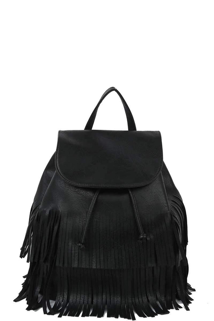 PLAIN TASSEL FRINGES COVERED CROSSBODY CONVERTIBLE BACKPACK - Glamazontay Apparel Studio