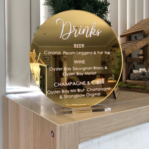 Mirror Acrylic + vinyl sign (20cm)