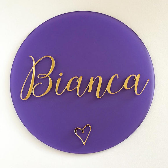 Name plaque frosted purple