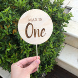 Round engraved cake topper