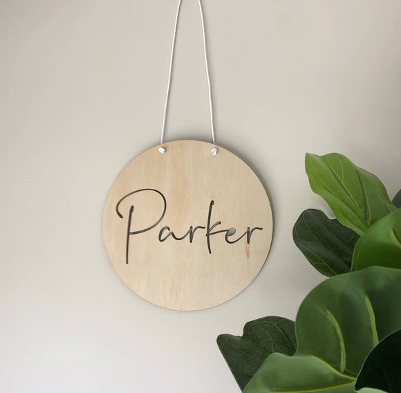 Name plaque (cut through) hanging