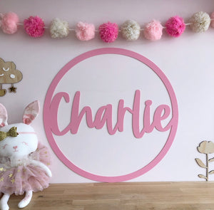 Hoop sign with name ACRYLIC