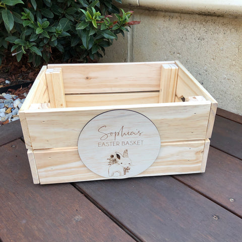 Wood crate + engraved plaque (easter style)