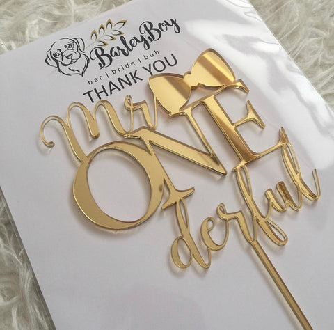 Mr Onederful cake topper