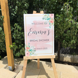 Corflute sign (pink swash and floral)