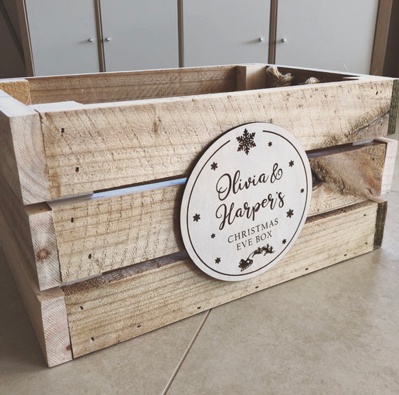 Crate with custom engraved plaque