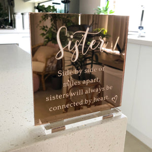 Sister Mirror engraved plaque