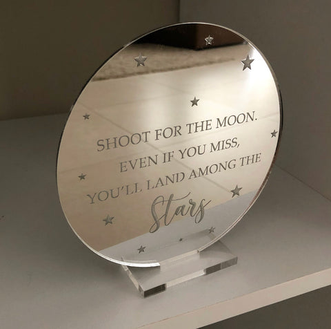 Mirror engraved plaque (Shoot for the moon)