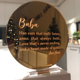 Mirror engraved plaque