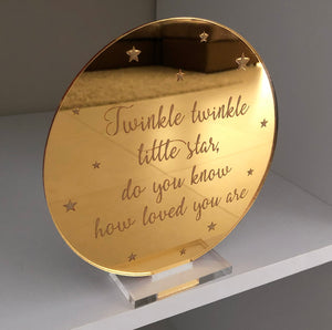 Mirror engraved plaque (twinkle twinkle)