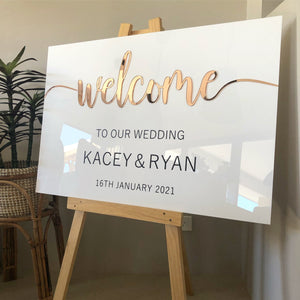 Welcome Sign - 2 colour acrylic + vinyl