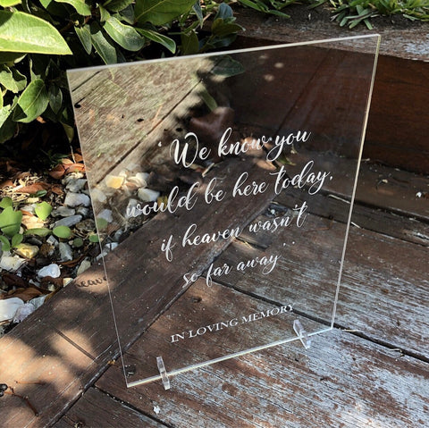 Acrylic signs - clear engraved A5 and A4