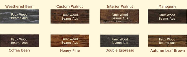 Faux Wood Beams Australia Colour Options - Artificial Fake Faux Light Wood Beams for sale in Australia. We deliver to all States.