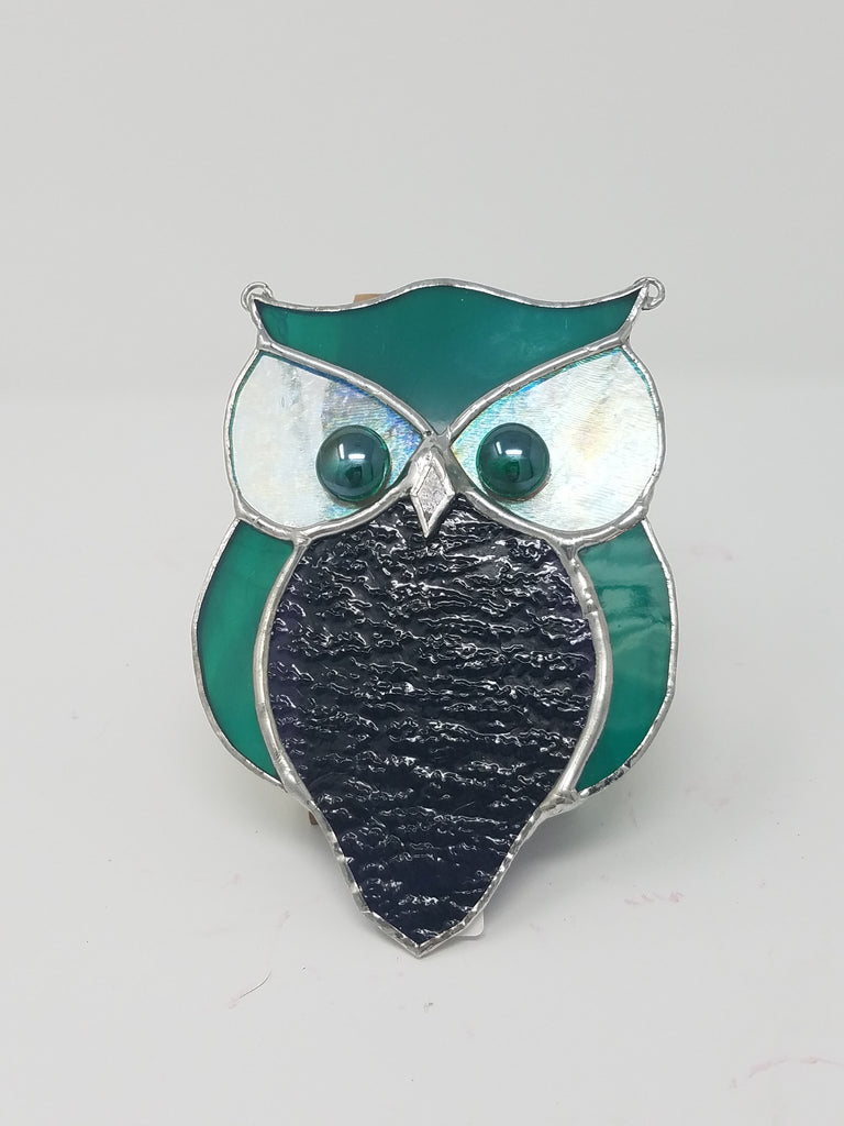 Stained glass owl, green, clear and dark blue with chain hanger