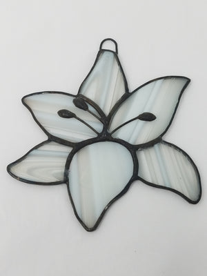 Stained glass white lily