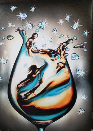 Giclee turquoise wine and diamonds