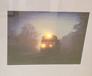 Morning Train scene matted in lavender