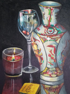 Vase, red candle and wine glass still life canvas panel