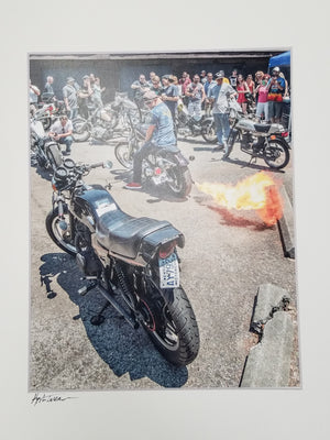 Motorcycles photo, fire out the tailpipe matted white, signed
