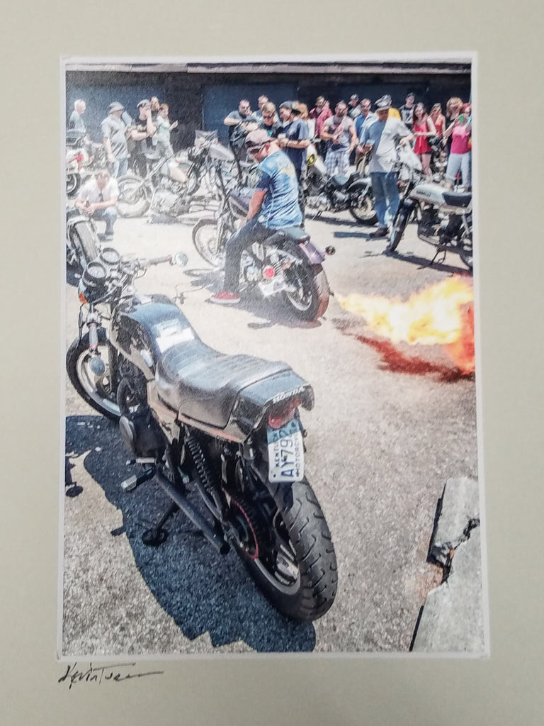 Motorcycles photo, fire out the tailpipe, matted in beige, signed