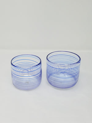 Clear blue striped small bowl, glass