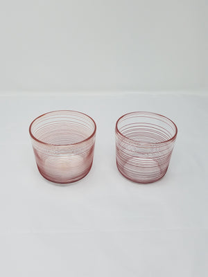 Bourbon glass, red, clear stripe