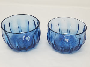 Clear blue ridged small bowls