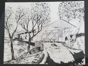 Covered bridge print, black and white by Hockensmith